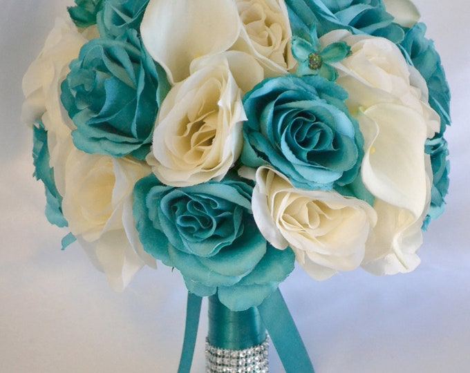 Wedding Bouquet, Bridal Bouquet, Bridesmaid Bouquet, Silk Flower Bouquet, Wedding Flower, 17Pcs, Emerald Green, Teal, Ivory, Lily of Angeles