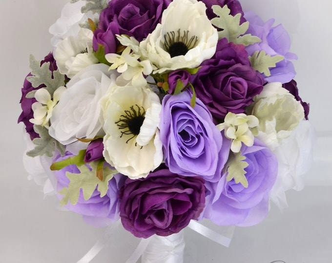 Wedding Bouquet, Silk Flower Bouquets, Bridal Bouquets, Wedding Bouquet Set, Bouquet, PURPLE, PLUM, LAVENDER, 17 Pc Package, Lily of Angeles