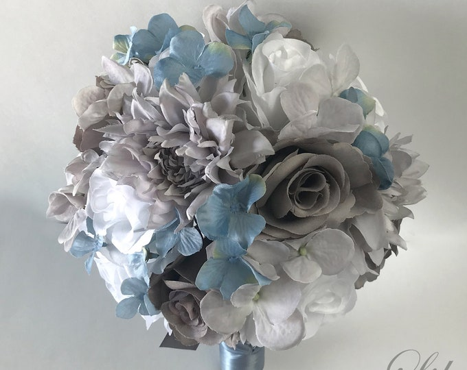 Wedding Bouquet, Bridal Bouquet, Bridesmaid Bouquet, Silk Flower Bouquet, Wedding Flower, Slate Blue, Dusty Blue, Gray, Gray Lily of Angeles