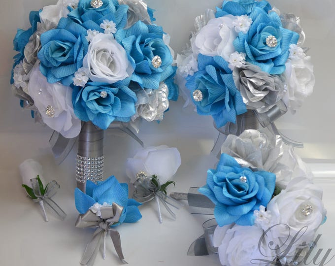 Wedding Bouquet, Bridal Bouquet, Silk Flower Bouquet, Wedding Flower, Silk Bouquet, 17 Piece Set, Malibu, Turquoise, Silver, Lily of Angeles