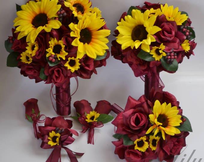 Wedding Bouquet Burgundy, Bridal Bouquet, Silk Flower Bouquet, Wedding Flowers, Maroon, Burgundy, Wine, Yellow, Sunflower, Lily of Angeles