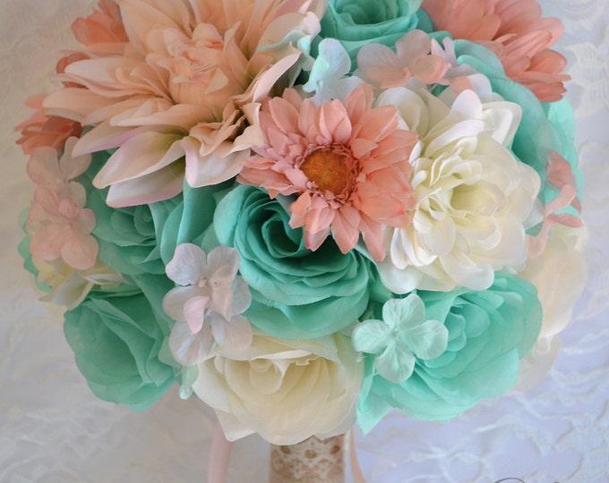 Wedding Bouquet, Bridal Bouquet, Bridesmaid Bouquet, Silk Flower Bouquet, 17 Pcs, Blush, Peach, Robin's Egg Blue, Pool, Spa, Lily of Angeles