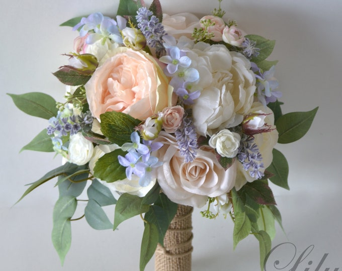 Wedding Bouquet, Bridal Bouquet, Bridesmaid Bouquet, Silk Flower Bouquet, Wedding Flower, lavender, peach, blush, lilac, Lily of Angeles