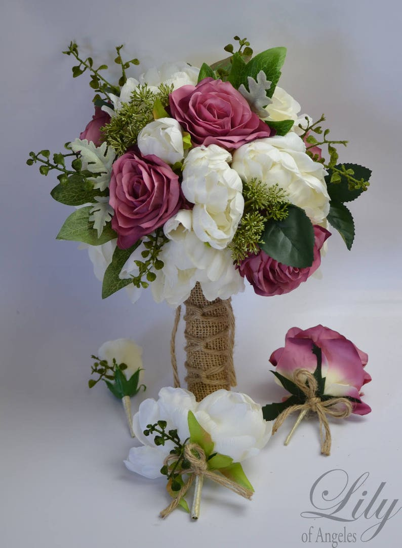 Wedding Flowers Wedding Bouquet Lily of Angeles Dark Lilac Mauve Silk Flower Bouquet Bridesmaid Bouquet Bridal Bouquet Silk Bouquet