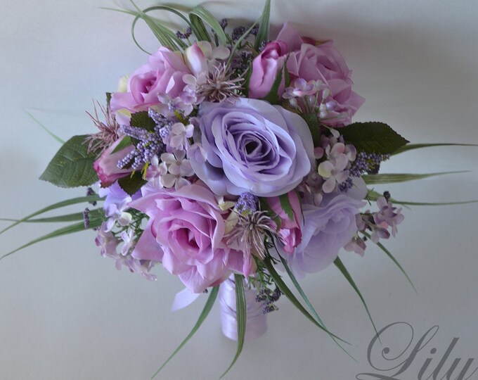 Wedding Bouquet, Bridal Bouquet, Bridesmaid Bouquet, Silk Flower Bouquet, Wedding Flower, lavender, wisteria, dusty Rose, Lily of Angeles
