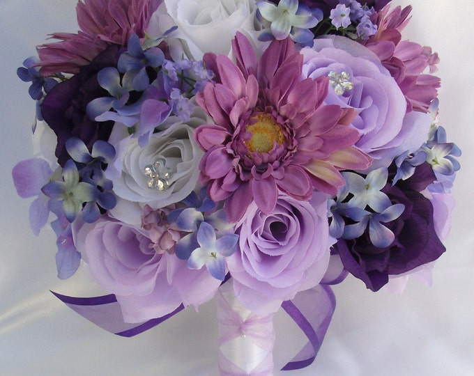 Wedding Bouquet, Bridal Bouquet, Bridesmaid Bouquet, Silk Flower Bouquet, Wedding Flowers, 17 Piece Set, Purple, Lavender, Lily Of Angeles