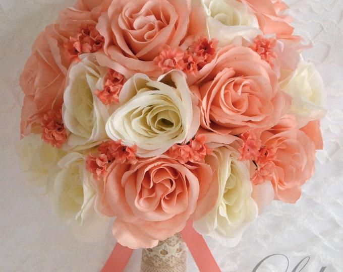 RESERVED LISTING, Wedding Bouquet, Bridal Bouquet, Bridesmaid Bouquet, Silk Flower Bouquet, Rustic, Burlap, Peach, Lily of Angeles