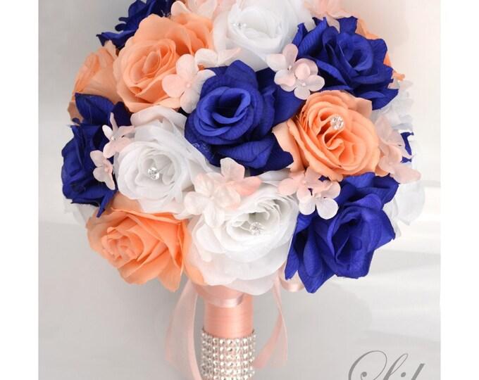 Wedding Bouquet, Bridal Bouquet, Bridesmaid Bouquet, Silk Flower Bouquet, Wedding Flowers, 17 Pcs, Peach, Navy, Royal, Blue, Lily of Angeles