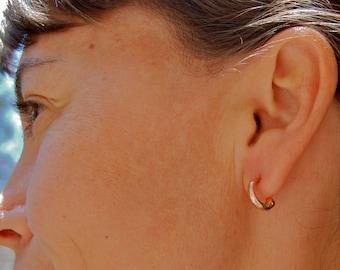 Tiny Tribal Hoop Earrings in Sculpted Recycled 14K White Gold. Tiny Hoop Earrings, White Gold Hoop Earrings, Small hoop earrings, Tiny hoops