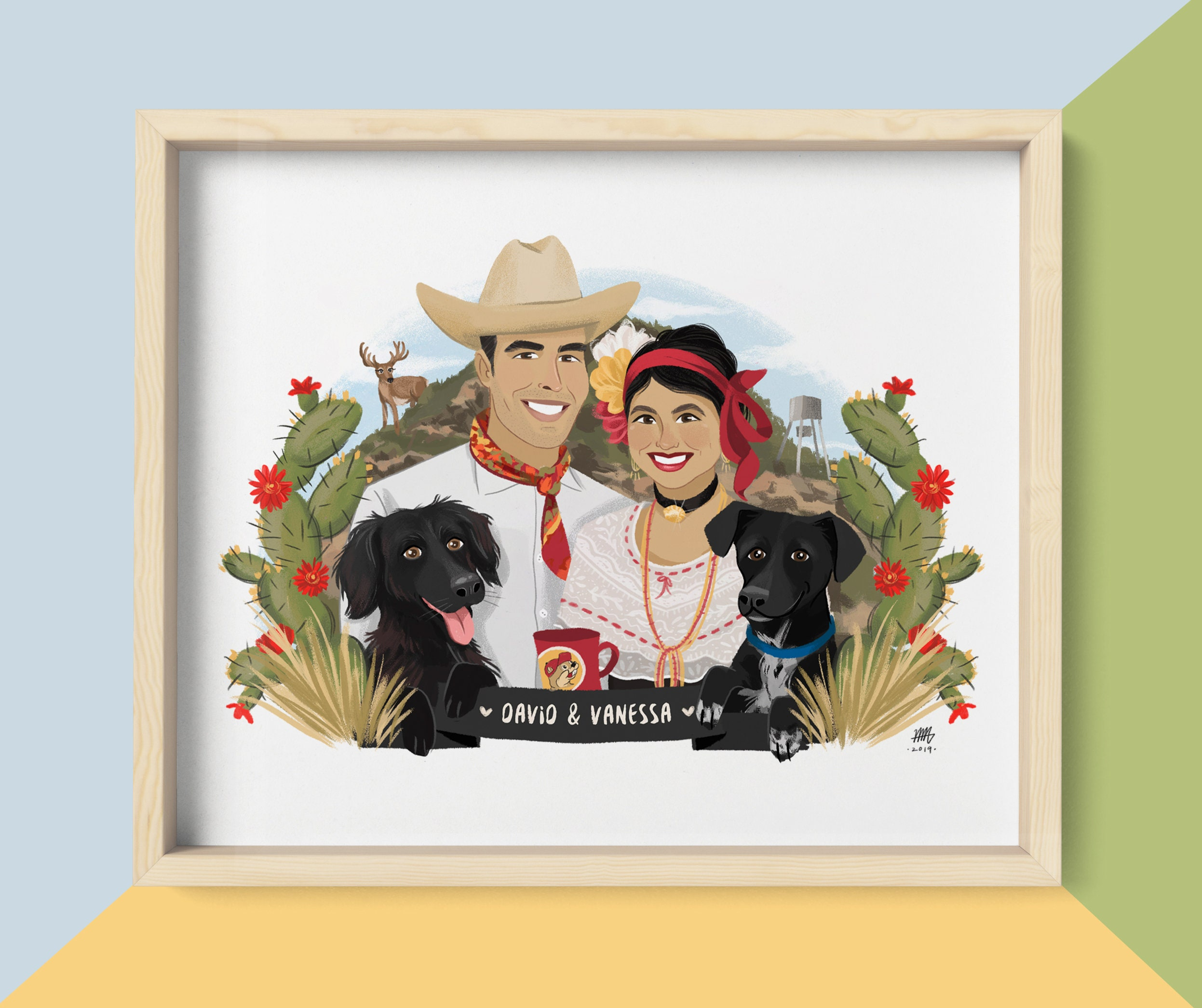 18 people + 18 Pets + Premium background Illustration, First anniversary  custom portrait, family, birthday gift, paper