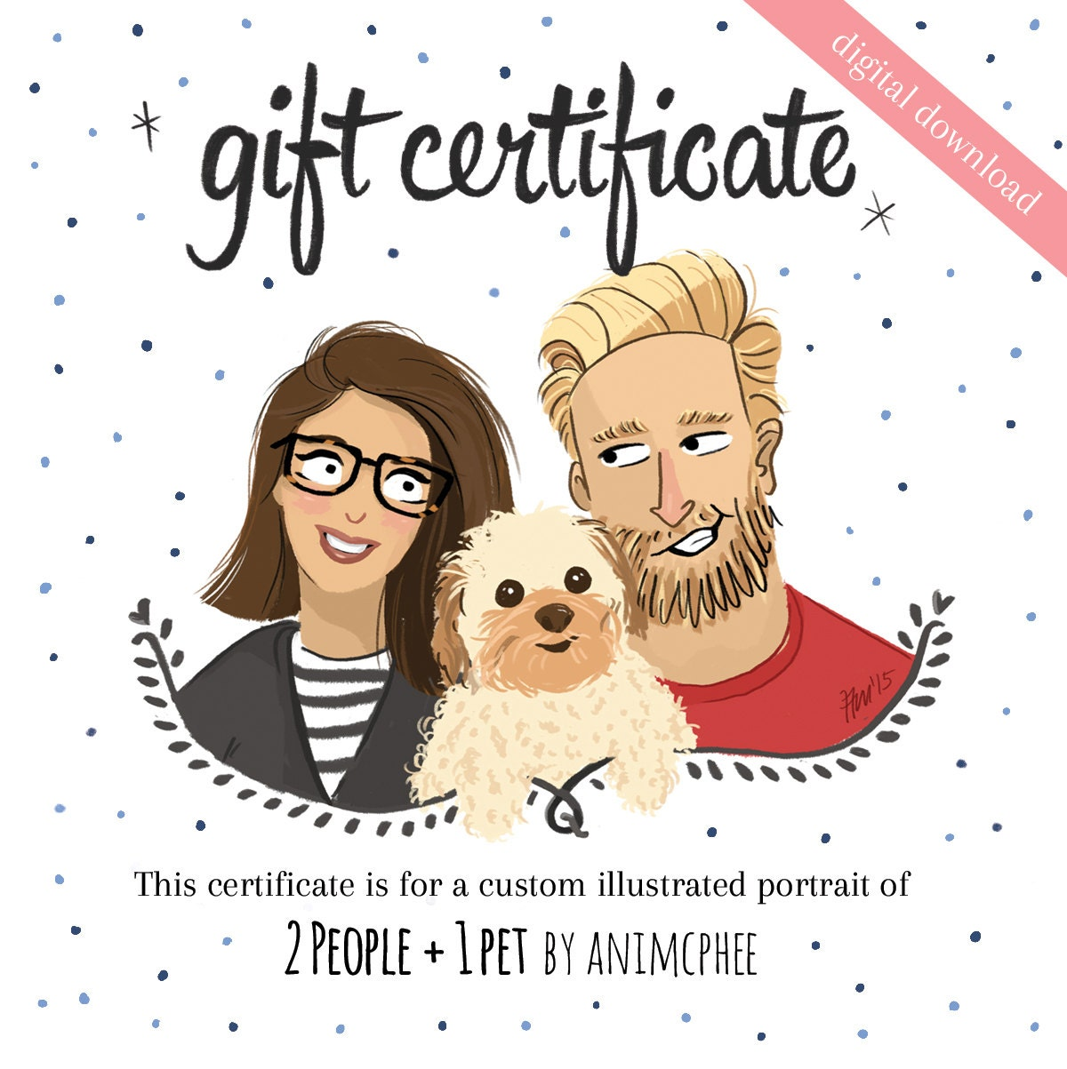 Gift Certificate Print 2 People And 1 Pet This Certificate Etsy