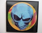 Alien Art Stencil on 33 RPM 12 inch Vinyl Record