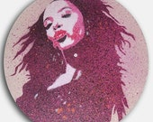 Limited Edition Aaliyah spray paint stencil on vinyl record