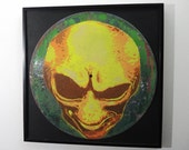 Alien art on vinyl record - limited edition of 33 - framed or unframed - UV black light reactive!