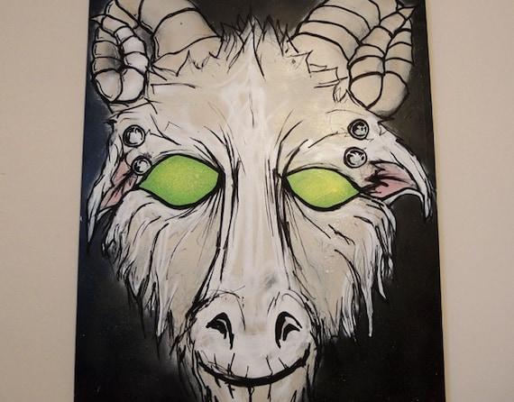 Goat - Graffiti Style Painting on Canvas - Black Light Reactive Original