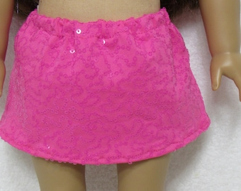 18 Inch Doll Hot Pink Small Sequins Skirt Fits American Girl Doll On Sale