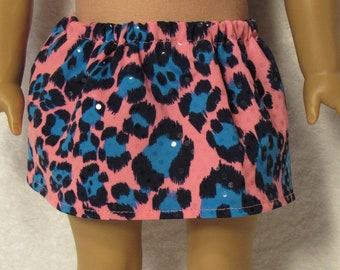 18 Inch Doll Pink and Aqua Animal Print Spandex Skirt Fits American Girl Doll On Sale