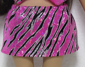18 Inch Doll Hot Pink and Black Sparkle Skirt Fits American Girl Doll On Sale