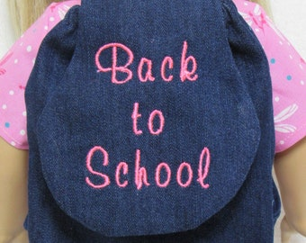 18 Inch Doll Embroidered Back To School In Neon Pink on Jean Back Pack Fits American Girl Doll