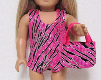 18 Inch Doll Hot Pink Print With Sparkles Sleeveless Leotard Fits American Girl Doll