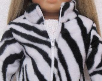 18 Inch Doll Zebra Fleece Jacket with Zipper Fits American Girl Doll