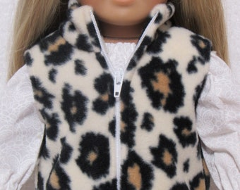 18 Inch Doll Fleece Cheetah Print Vest With Zipper Fits American Girl Doll