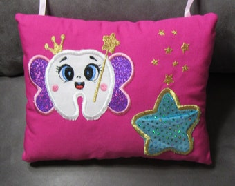 Embroidered Tooth Fairy Pillow for Girl Measures 5x7 with Ribbon to Hang