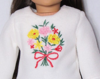 18 Inch Doll White Sweatshirt with Embroidered Flowers Fits American Girl Doll