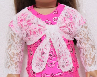 18 Inch Doll White Lace Shrug Fits American Girl Doll On Sale