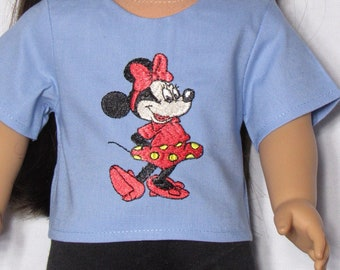 18 inch Doll Embroidered Minnie Mouse On Blue Cotton T-Shirt Fits American girl Doll