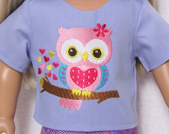 18 Inch Doll Embroidered Owl on Lavender Cotton Top Fits American Girl Doll