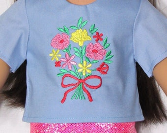 18 Inch Doll Embroidered Flower Arrangement Top Fits American Girl Doll