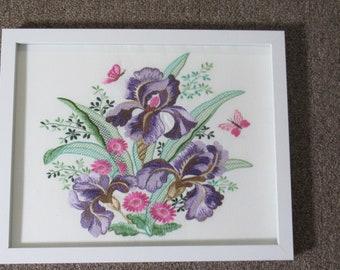 Framed Embroidered Iris Arrangement in 11X14 White Frame