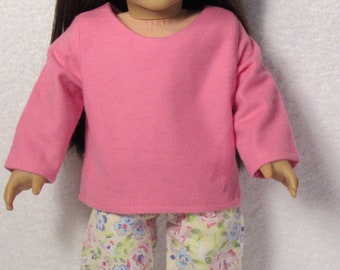 18 Inch Doll Pink and Yellow Flannel Print Pajamas