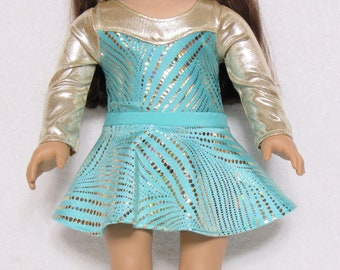 18 inch  Mint Green and Gold Long Sleeve Leotard with Skirt