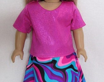 18 Inch Doll Fits American Girl Doll Multi Color Hi Low Skirt with Matching Top