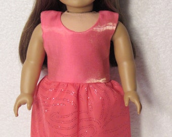 18 Inch Doll Peach Sleeveless Short Dress with Overlay Fits American Girl Doll