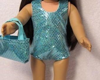 18 Inch Doll Light Aqua leotard or Swimsuit Fits American Girl Doll