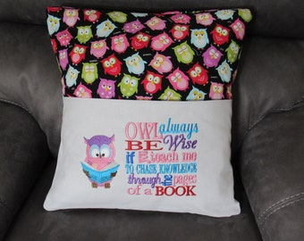 Embroidered Book Pillow Cover with Owl and a Saying Fits 18 X 18 Inch Pillow