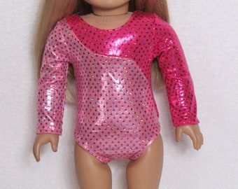Pink Two Tone Long Sleeve Leotard Fits American Girl and 18 Inch Doll