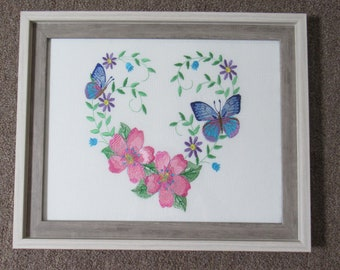 Embroidered Cherry Blossom Flower with Butterflies in a  Heart Shape 11x14 Two Tone Gray Frame with Glass