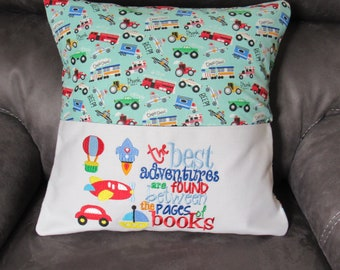 Embroidered Pillow Book Cover Boy Adventures  Fits 18 X 18 Inch Pillow