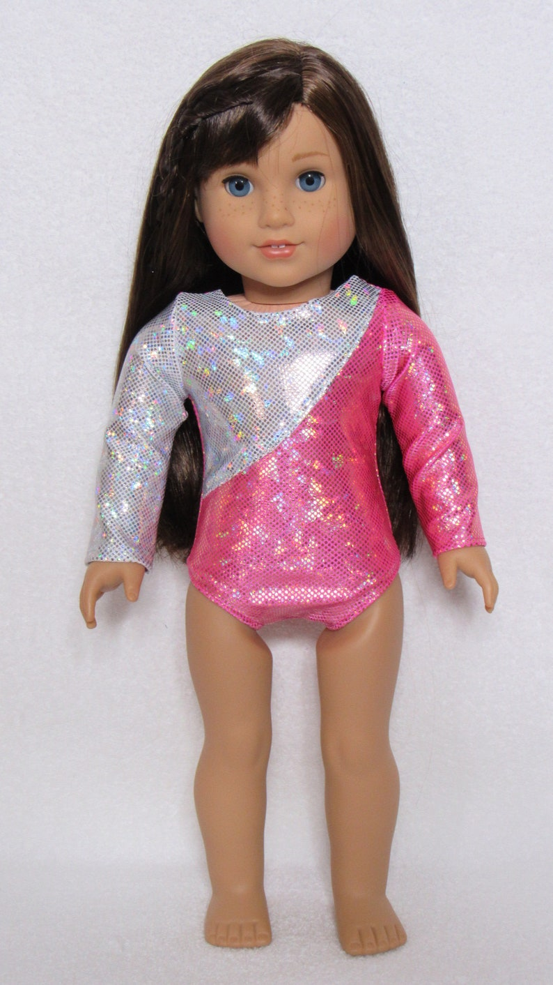 15a6528cab53 Hot Pink and White Long Sleeve Leotard Fits American Girl Doll