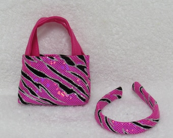 18 Inch Doll Hot Pink Print Tote Bag with Matching Headband Fits American Girl Doll