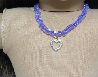 18 Inch Doll Purple Glass Beads with Gold Heart with Stones Pendant Necklace and Matching Bracelet Fits American Girl Doll
