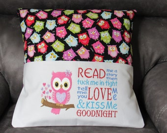 Embroidered Book Pillow Cover with Pink Owl and Read Me a Story Saying Fits 18X18 Inch Pillow