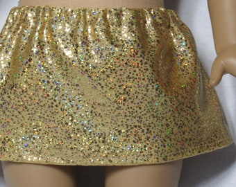 18 Inch Doll Gold Glitter Spandex Skirt Fits American Girl Doll On Sale