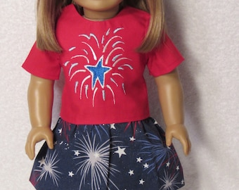 18 Inch Doll Clothes Fit The American Girl Doll. Embroidered Fireworks with Matching Skirt.