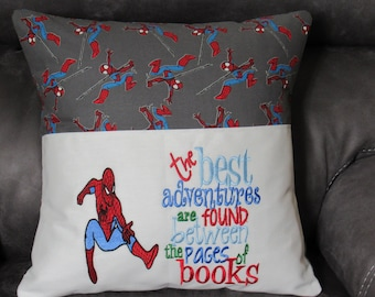 Embroidered Book Pillow Cover Spider-Man and Saying Fits 18 X 18 Pillow