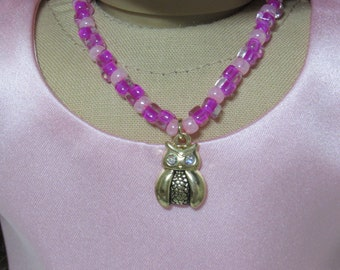 18 Inch Doll Hot Pink and Pink Beads with Gold Owl Pendant Fit American Girl Doll